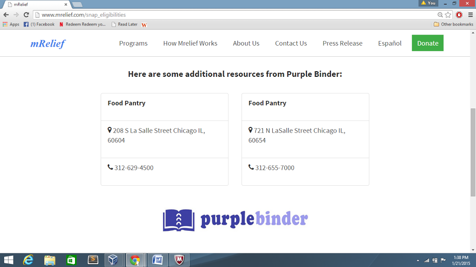 mRelief's application will screen users for benefits eligibility and also show them relevant results from Purple Binder's resource database.