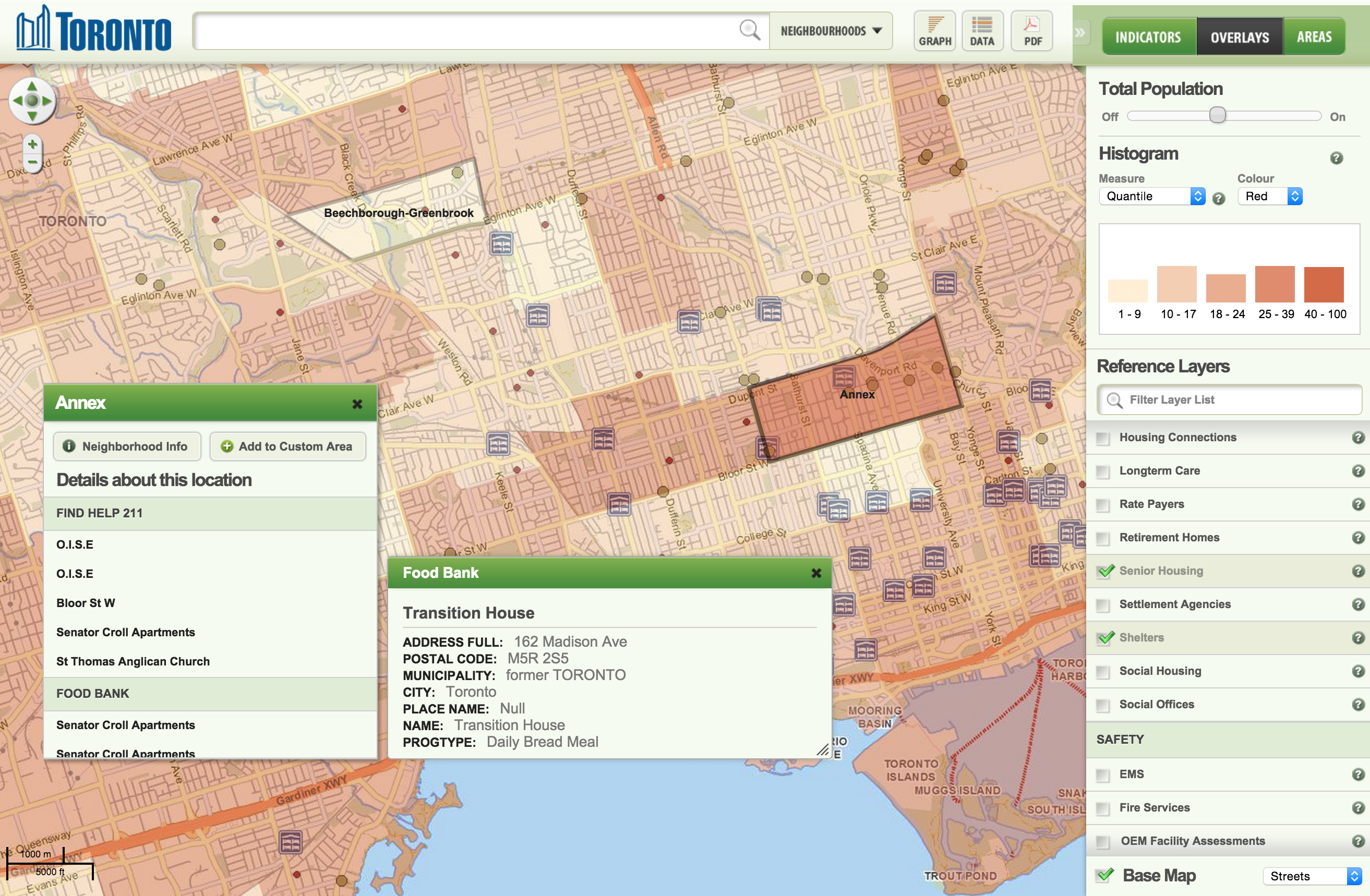 Wellbeing Toronto's data dashboard can show health indicators and other population-related data alongside community resource directory data provided by the region's 2-1-1. (Notably, this app was developed before the Open211 API made it possible to query up-to-date resource directory data in real-time.)