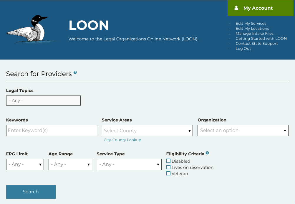 LOON search interface