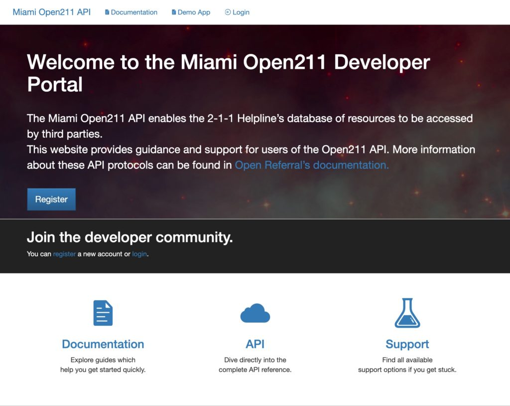the Miami Open211 developer portal provides access and guidance to the resource database API.